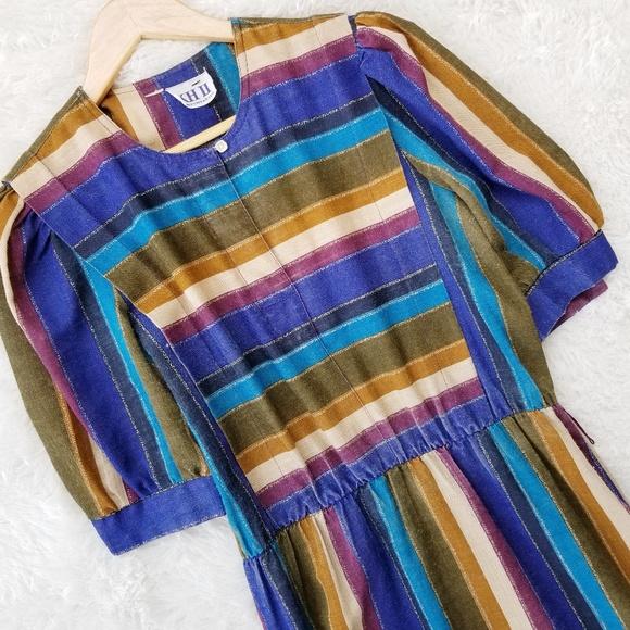 4956eee1e92d Vintage Dresses | 80s Striped Midi Dress | Poshmark
